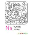 numbat nanny abc coloring book alphabet n