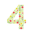 number 4 green floral made leaves vector image vector image