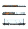 orange locomotive with railway platform vector image vector image