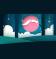 paper night landscape squirrel jump vector image vector image