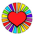 rainbow heart with color rays icon icon cartoon vector image vector image