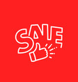 sale lettering composition on red background vector image vector image