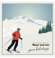 Skier slides from mountain vector image vector image