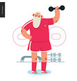 sporting santa - dumbbell lifting vector image