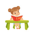 sweet little girl character sitting at the table vector image vector image