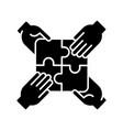 teamwork building black glyph icon vector image vector image