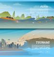 tsunami on tropical beach big waves and ocean vector image vector image