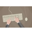 user hands on keyboard and mouse computer vector image