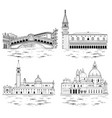 venice landmarks and tourist attractions set vector image