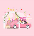 wedding arch with bride and groom is isola vector image