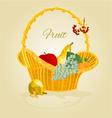 Fruit in a wicker basket healthy food vector image