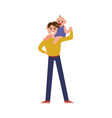 baby sitting on fathers shoulders cartoon vector image
