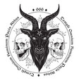 baphomet demon goat head hand drawn print or vector image vector image