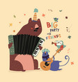 birthday card with cute animals playing the vector image vector image