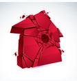 broken home concept house broken to pieces vector image