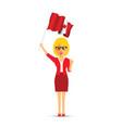 canadian woman waving a flag vector image