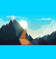 cartoon landscape mountain firr cloud sun vector image vector image