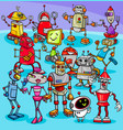 cartoon robot characters group vector image vector image