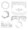 christmas hand drawn borders and wreaths vector image vector image
