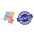 christmas sale collage of mosaic map of democratic vector image vector image