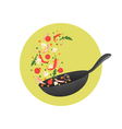 Cooking process Flipping Asian food in a pan vector image
