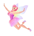 Cute flying fairy in pink petal dress with vector image vector image