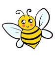 cute little bee on white background vector image vector image