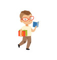 cute little boy character in glasses walking and vector image vector image
