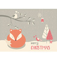 Cute sleepy Christmas fox floral decoration vector image