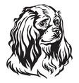 decorative portrait of dog cavalier king charles vector image