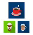different kinds of coffee flat icons in set vector image