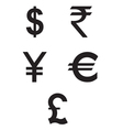 Dollar Euro Rupees Pound and Yen currency icons vector image