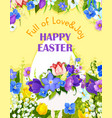 easter egg paschal flowers greeting card vector image