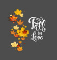 fall leaves on dark background vector image vector image