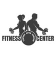 fitness center emblem with silhouettes of vector image vector image