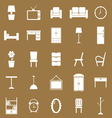 Furniture icons on brown background vector image vector image