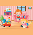 girls reading books in living room vector image vector image
