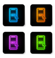 glowing neon mobile phone and shopping cart icon vector image vector image