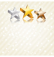 Golden silver and bronze stars vector image vector image