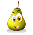 Green pear with happy face vector image vector image
