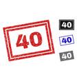 grunge 40 scratched rectangle stamp seals vector image vector image