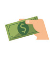 hand with bills dollars isolated icon vector image