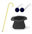 Hat cane and glasses vector image