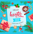 hello winter 2020 card vector image