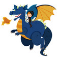 hunter riding on blue dragon vector image