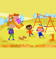 kids and teacher at the playground in autumn vector image vector image