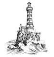 Lighthouse and sea marine sketch nautical