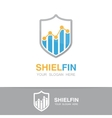 logo combination of a graph and shield vector image vector image