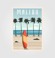 malibu california beach vintage design surf vector image