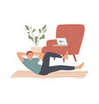 man doing situps abs crunches at home vector image vector image